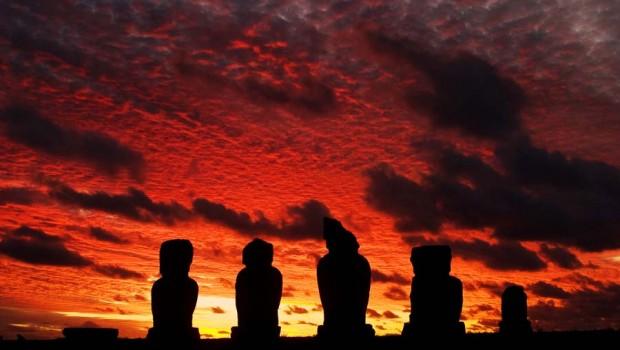 Easter Island Sunset Ahu Tahai